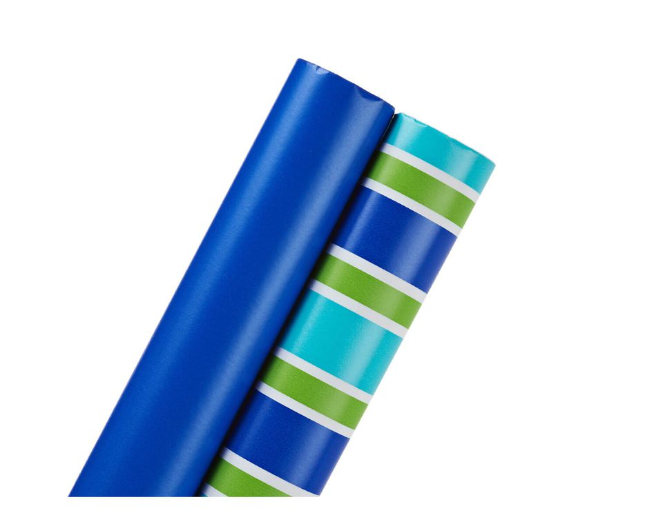 Wrapping Paper, Royal Blue and Green and Blue Stripes, 2-Roll
