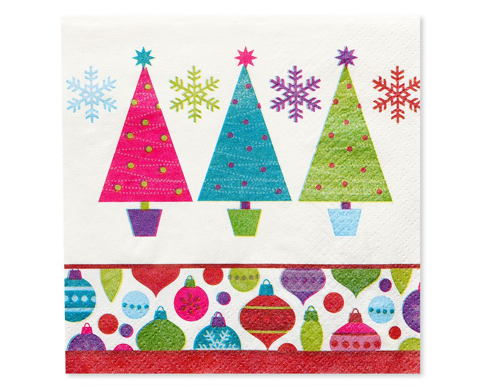 Playful Trees Christmas Beverage Napkins, 16-Count