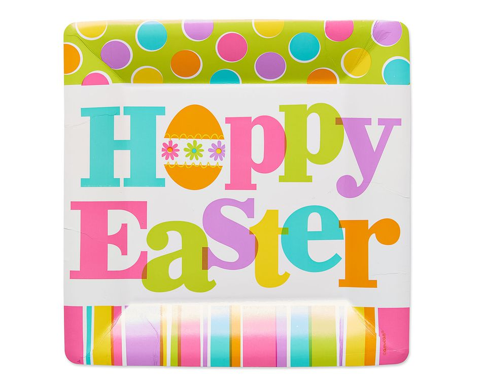 hoppy easter dinner square plate 8 ct