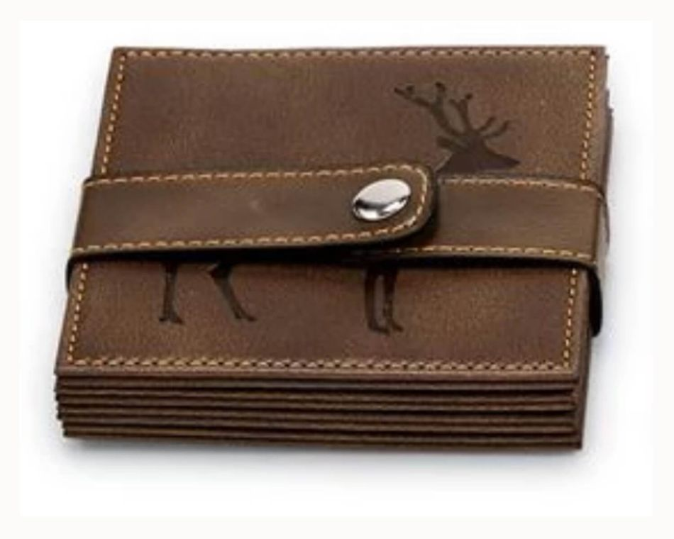 Mud Pie Standing Deer Faux Leather Coaster Set
