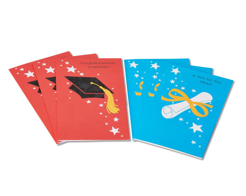 Graduation Cap and Diploma Graduation Cards, 6-Count