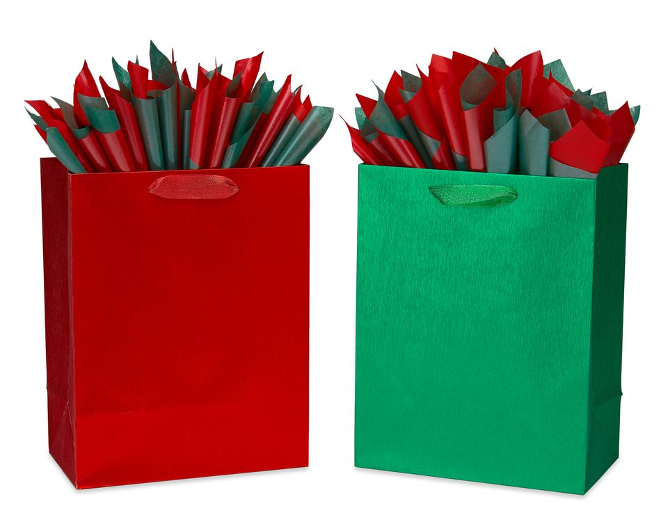 Brushed Metallic Red and Green Gift Bags Holiday Large Gift Bag and Tissue Paper Set