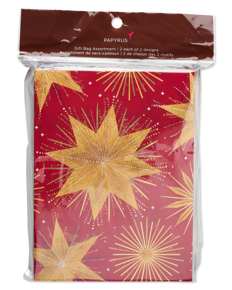 Christmas Magic Stars and Ornaments Medium Gift Bag Set, 4-Count