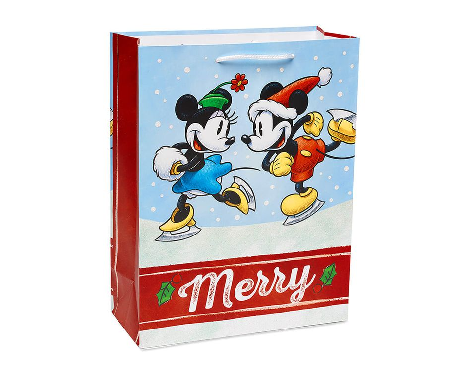 Mickey Mouse and Minnie Mouse Christmas White Glitter Medium Gift Bag