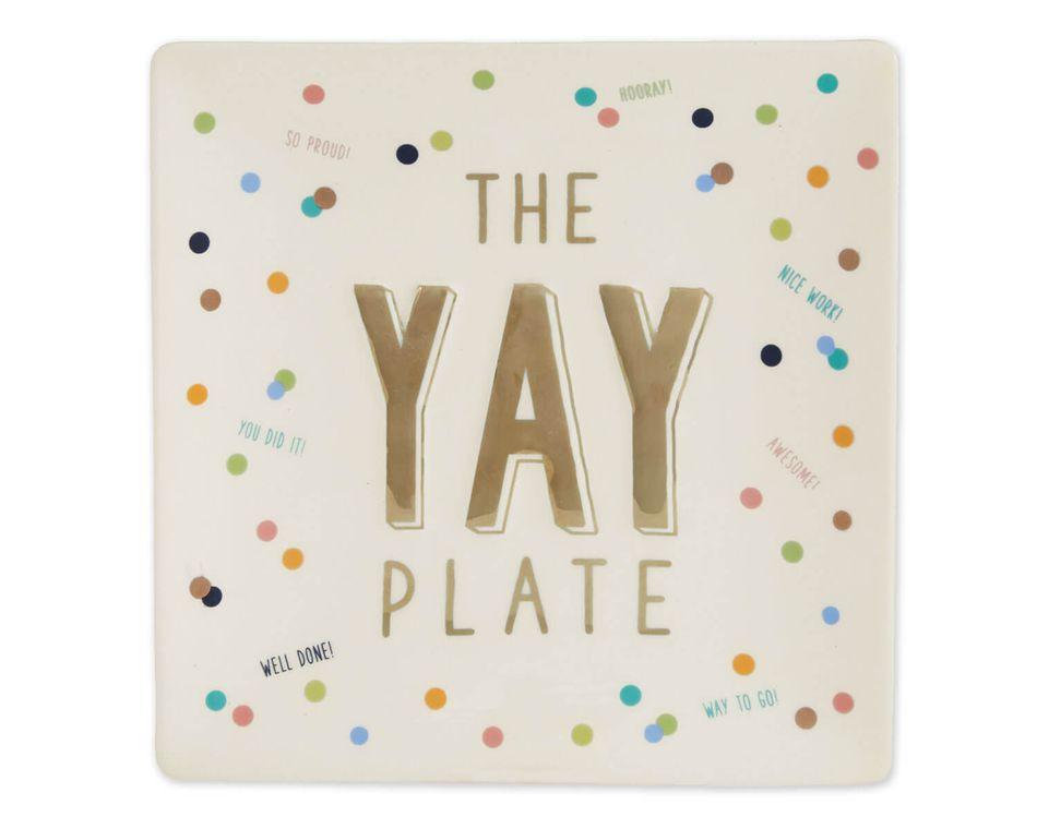 Mud Pie Ceramic Yay Plate Set