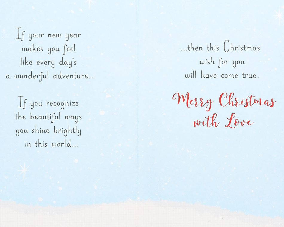 Warmth and Joy Christmas Card for Granddaughter