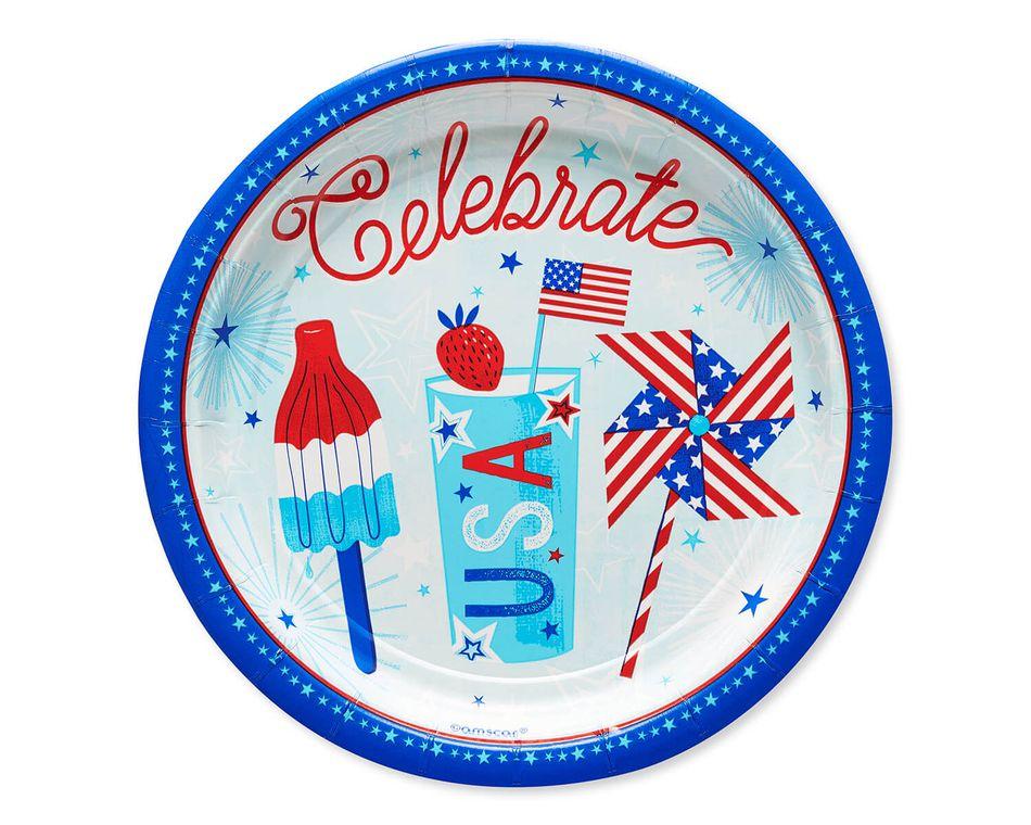 Patriotic Paper Dessert Plates, 8-Count
