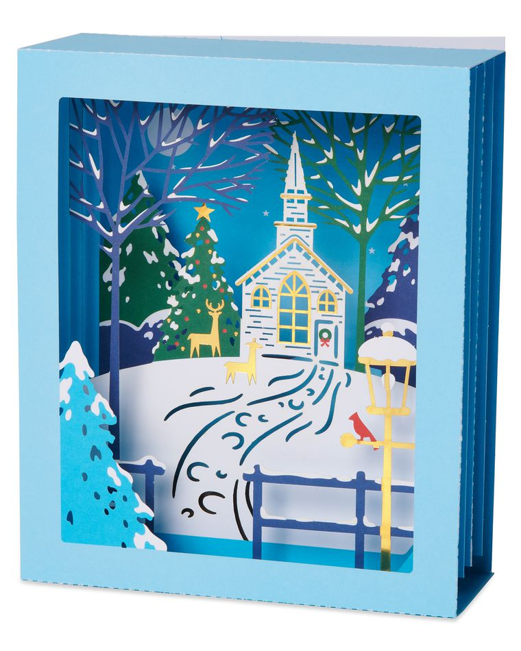 Outdoor Scene Pop-Up Christmas Greeting Card