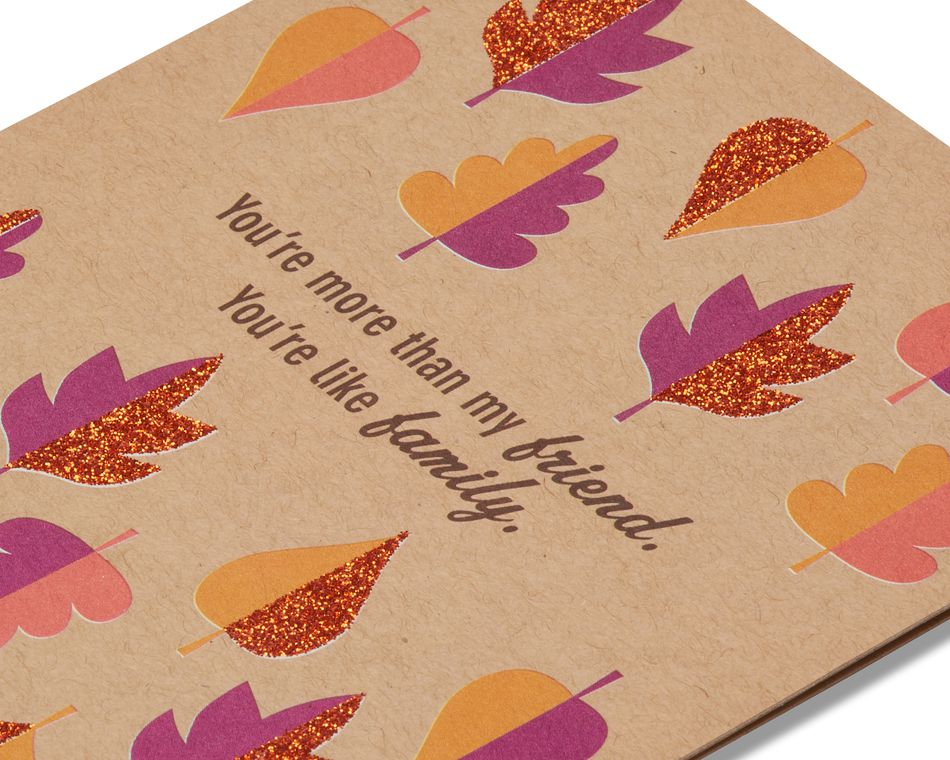 Leaves Thanksgiving Card for Friend with Glitter