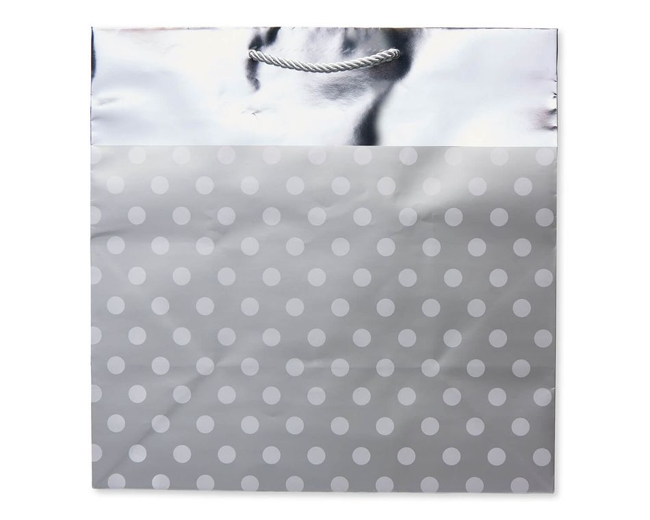 Extra Large Silver Dots With Foil Gift Bag American Greetings