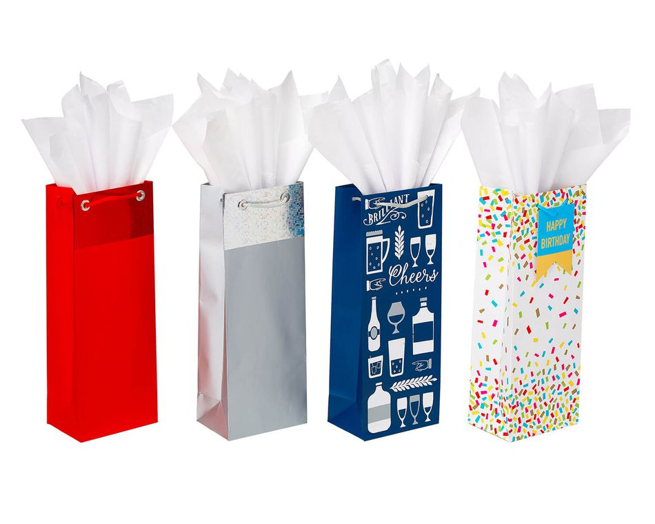 Assorted Beverage Bag and Tissue Paper Bundle, 4 Bags; 15 Sheets of Tissue