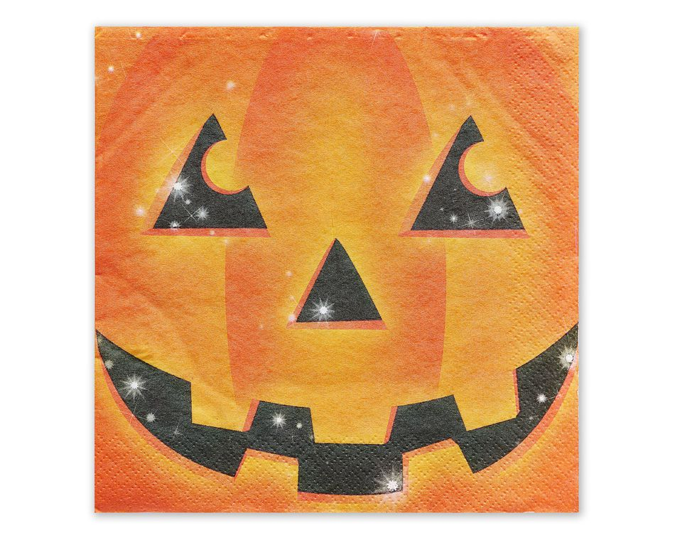 Smiling Pumpkin Lunch Napkins, 16 Count
