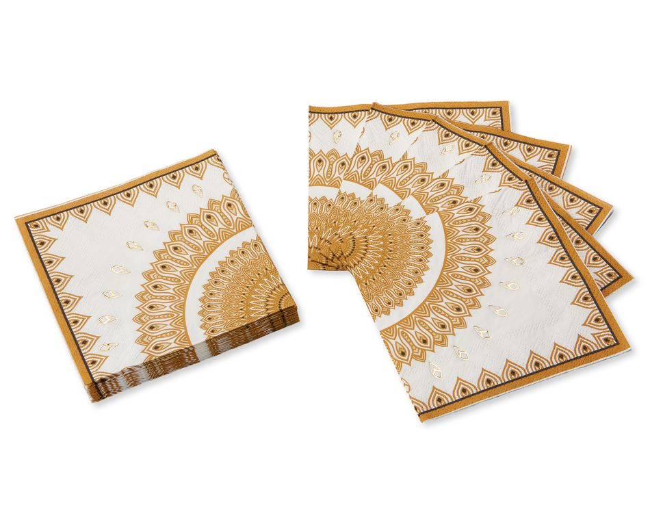 Party Partners Gold & Black Mandala Cocktail Napkins, 12-Count