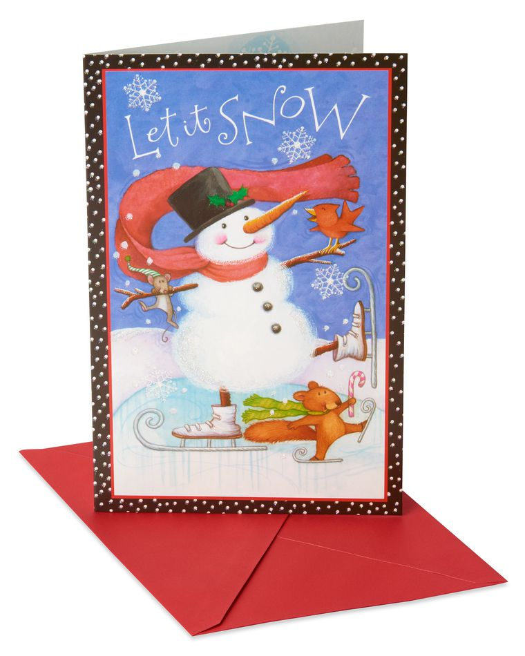 Deluxe Folky Snowman Skating Christmas Boxed Cards and Red Envelopes, 14-Count
