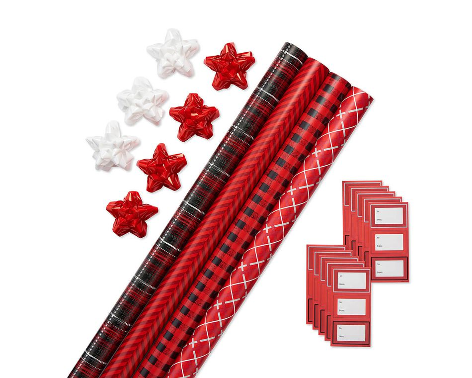 Christmas Wrapping Paper Ensemble with Bows and Gift Tags, Red, Black and White Stripes, Classic Plaid, Buffalo Plaid and Argyle, 4-Rolls, 41-Count