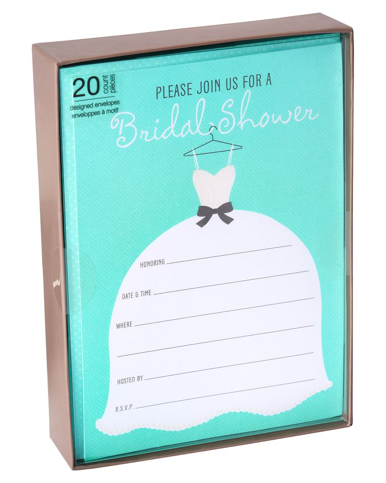 Glitter Wedding Dress Bridal Shower Invitations and Aqua Dotted Envelopes, 20-Count