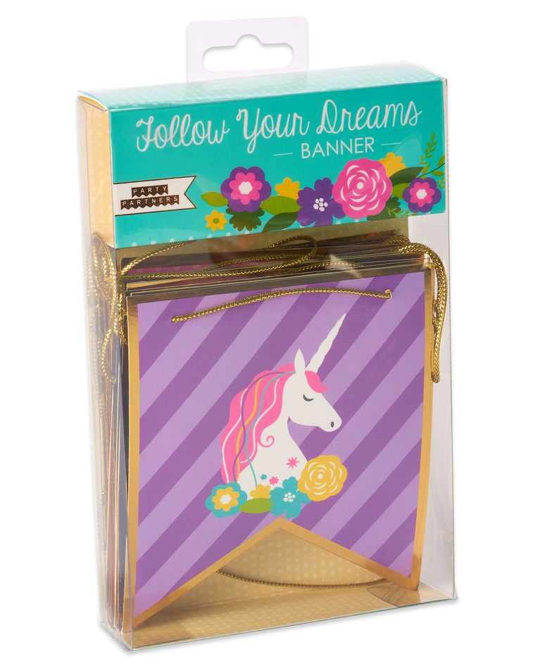 Party Partners Follow Your Dreams Unicorn Banner