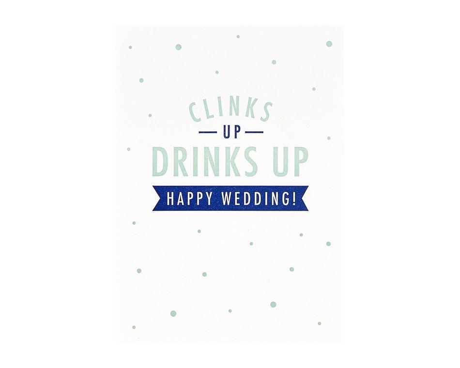 Clinks Up Wedding Card