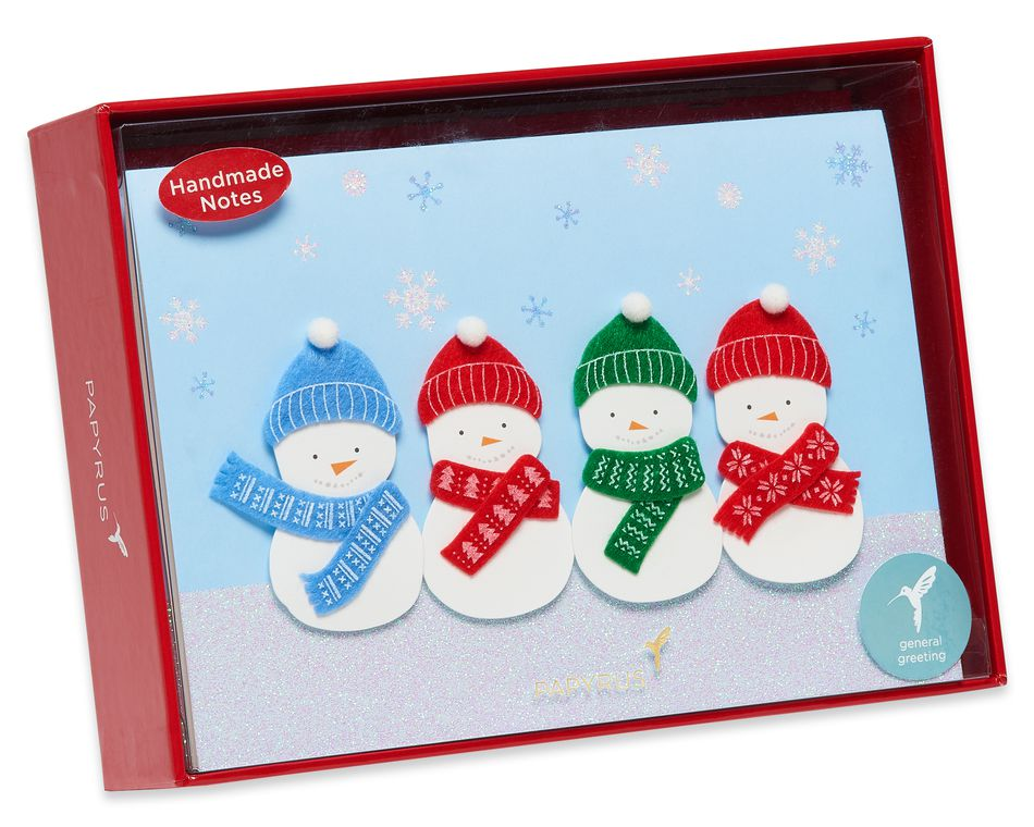 Snowman Glitter Holiday Boxed Cards, 8-Count