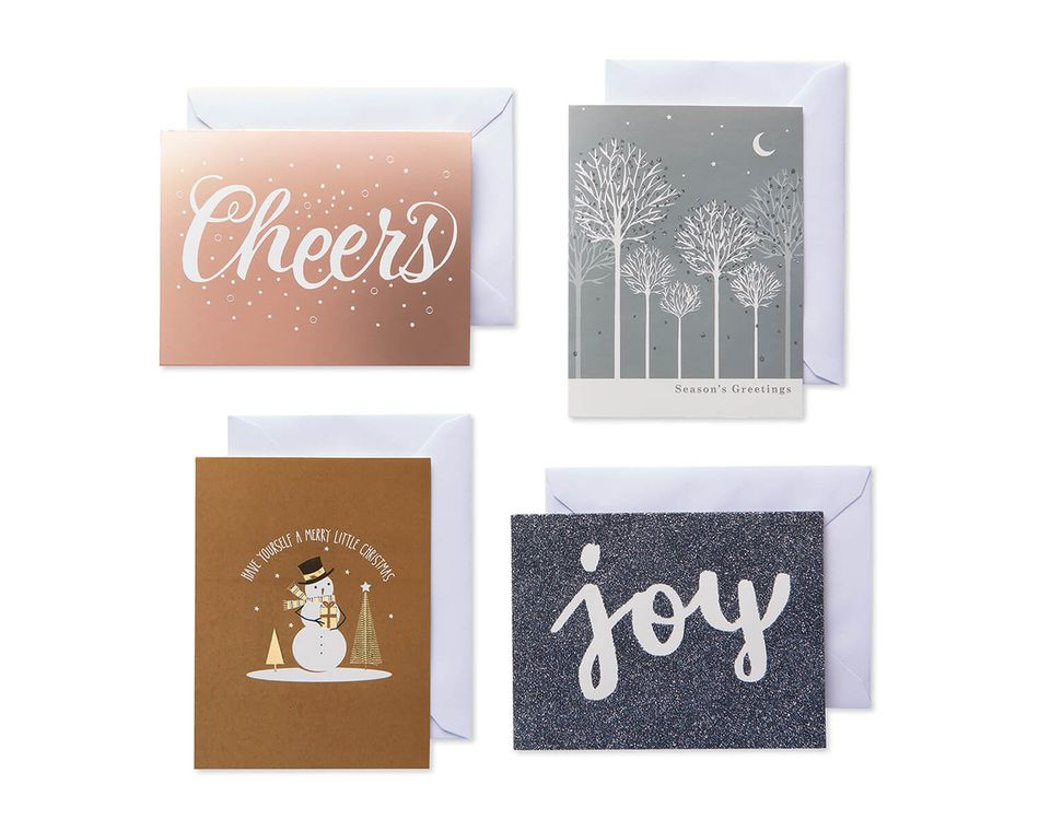 Metallic Medley Assorted Christmas Boxed Cards with White Envelopes, 20-Count