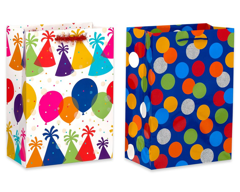 Birthday Gift Bag and Tissue Paper Bundle, 5-Count