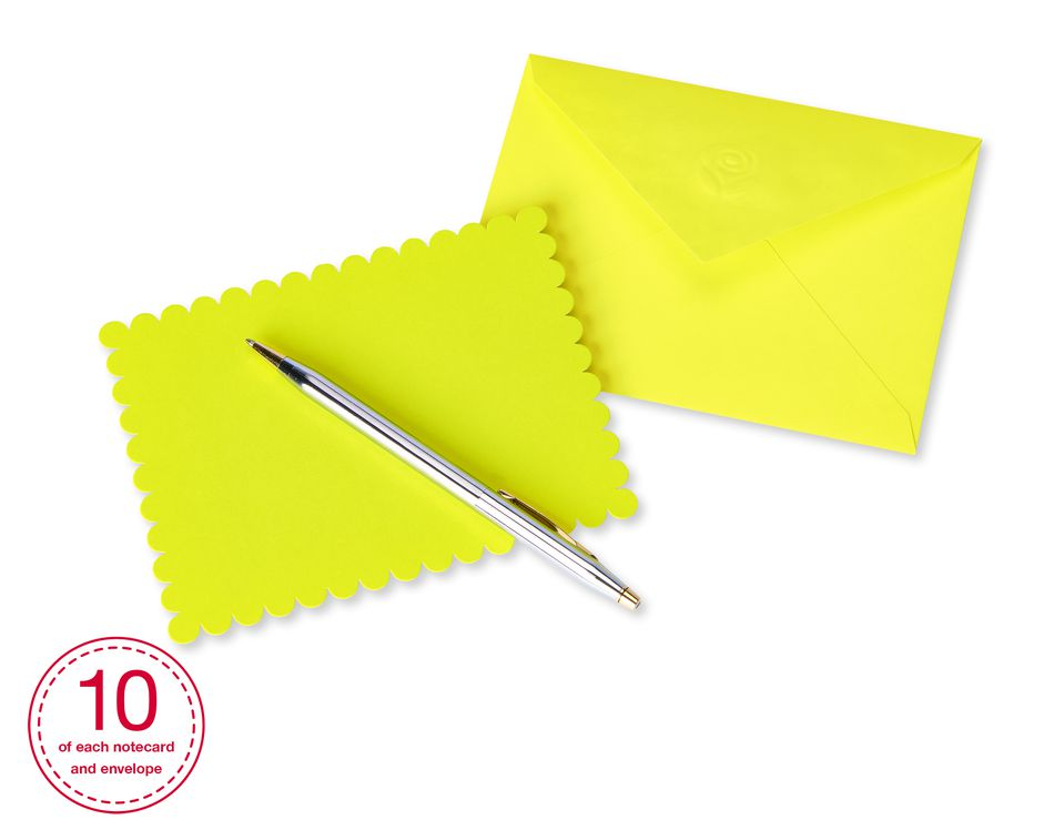 Vibrant Blank Flat Panel Note Cards and Colored Envelopes, 40-Count