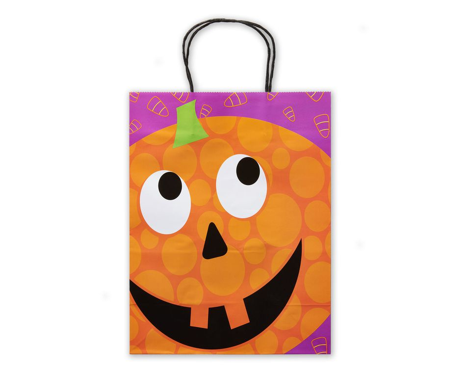 Medium Halloween Gift Bag, Smiling Pumpkin
