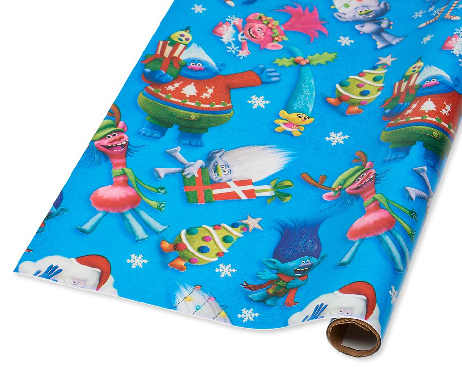 Trolls Christmas Wrapping Paper, 40 Total Sq. Ft.