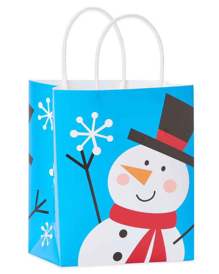 Happy Snowman Small Christmas Gift Bag