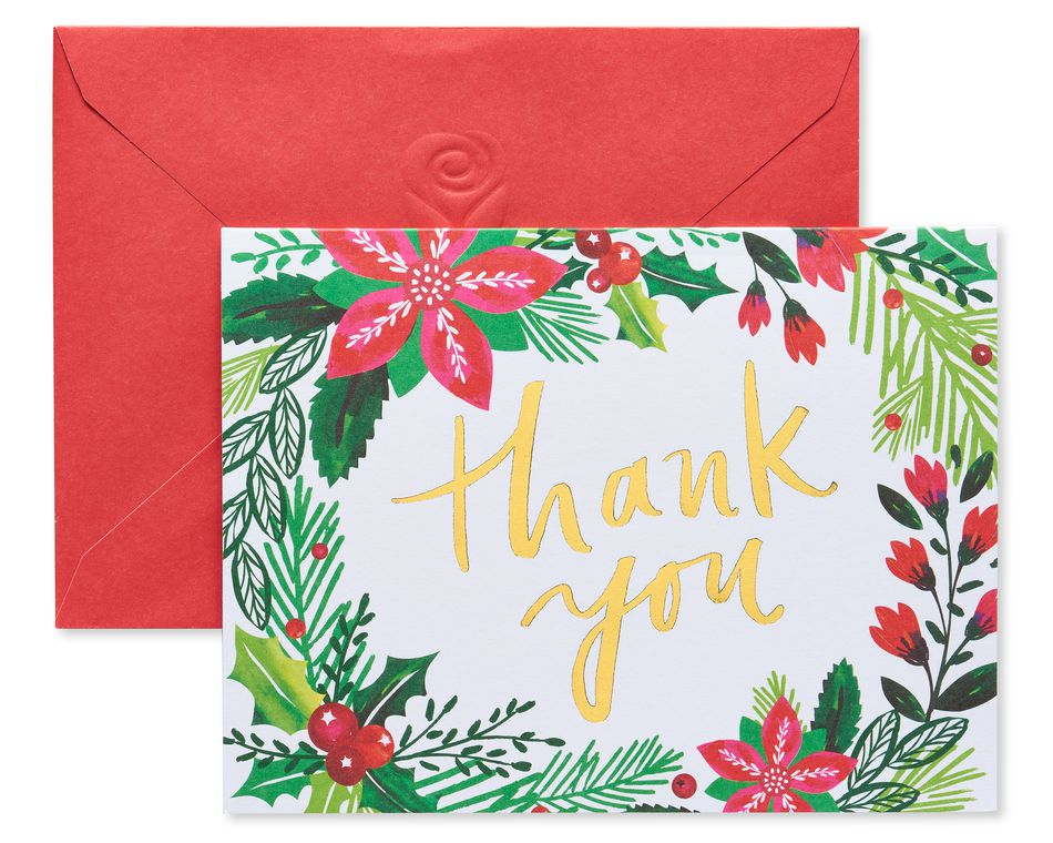 Poinsettias and Greenery Christmas Thank You Note Cards, 25 Count
