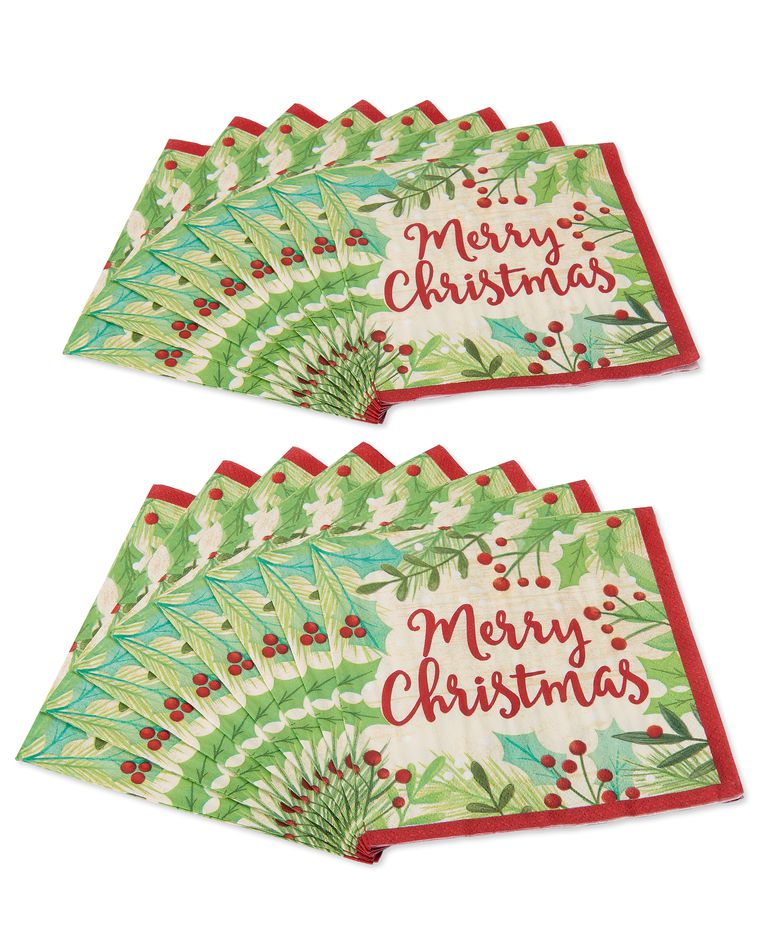 Merry Christmas Holly 16-Count Lunch Napkins