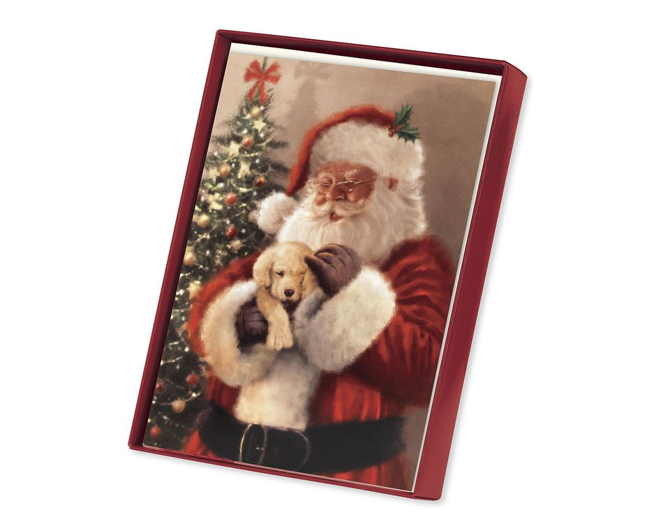 Santa Cuddling Puppy Christmas Boxed Cards, 14 Count - American ...