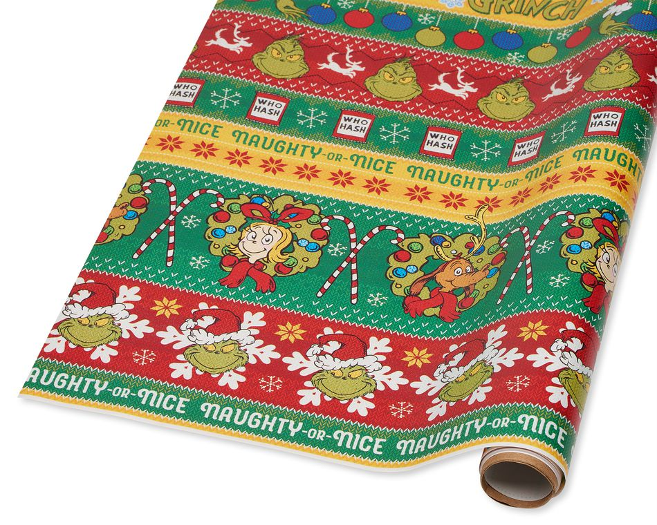 Grinch Sweater Christmas Wrapping Paper, 40 Total Sq. Ft.