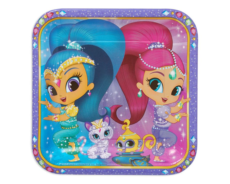 Shimmer and Shine Dinner Square Plate (8 Count)