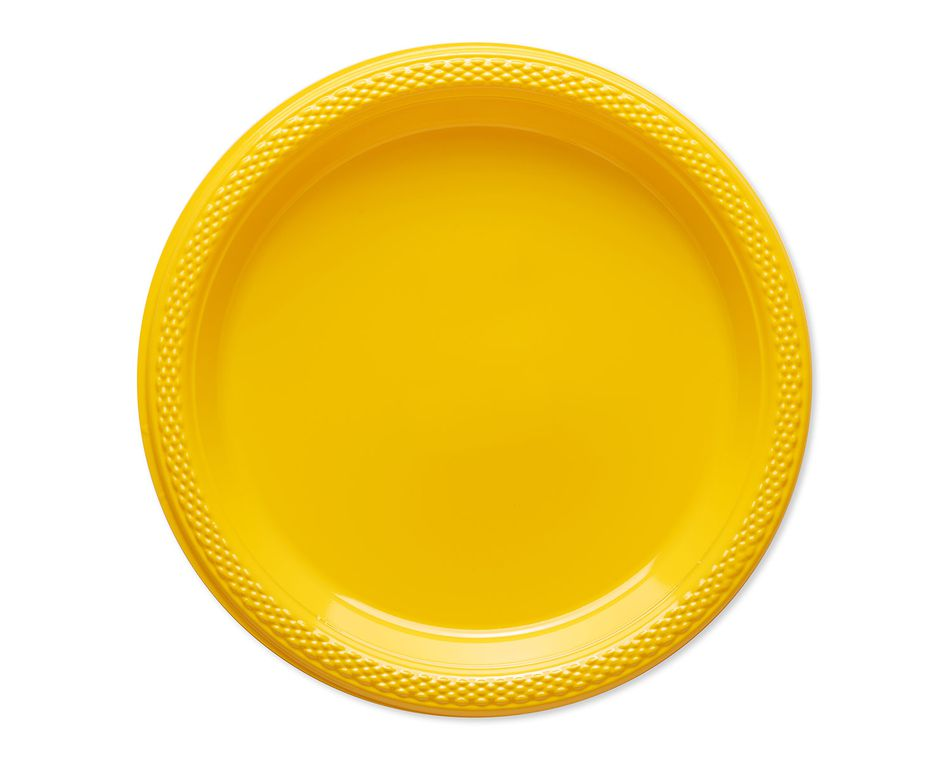 yellow plastic dessert plates 20 ct