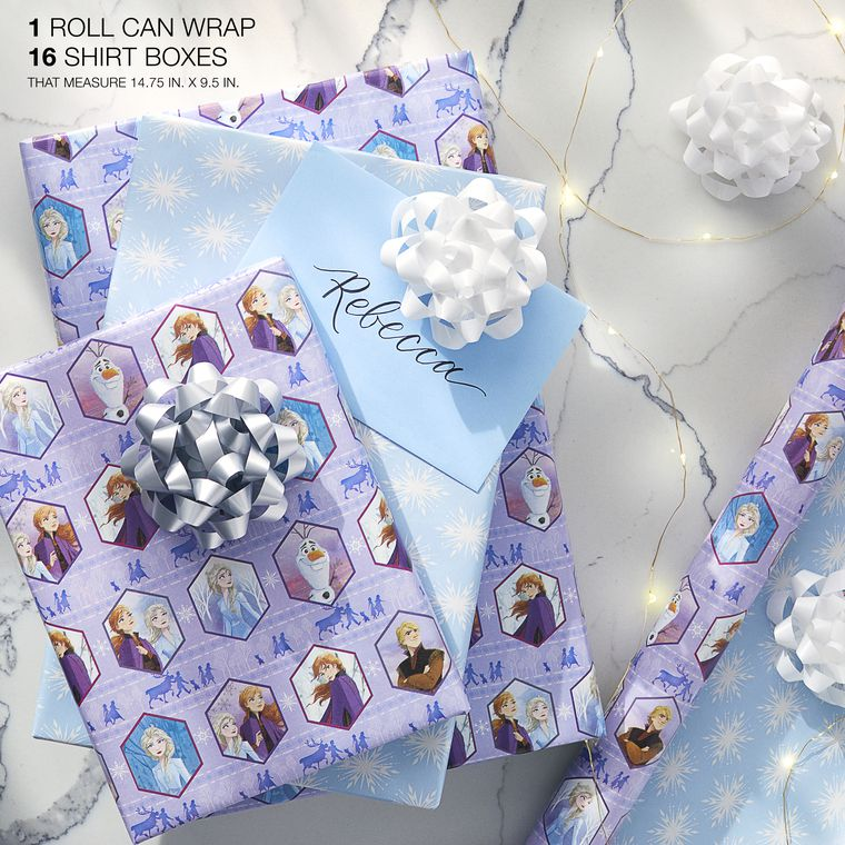 Christmas Reversible Wrapping Paper, Disney Frozen, 1-Roll, 75 Total Sq. Ft.