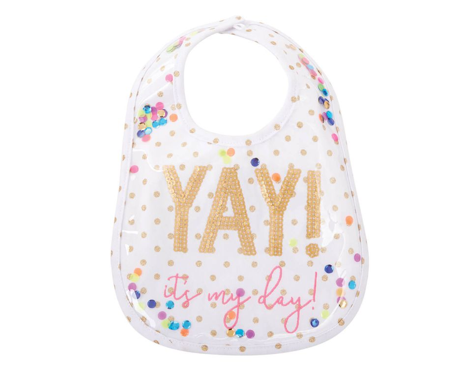 Mud Pie Laminated Yay Sequin Baby Bib