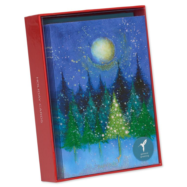 Tree Under Moon Holiday Boxed Cards, 14-Count