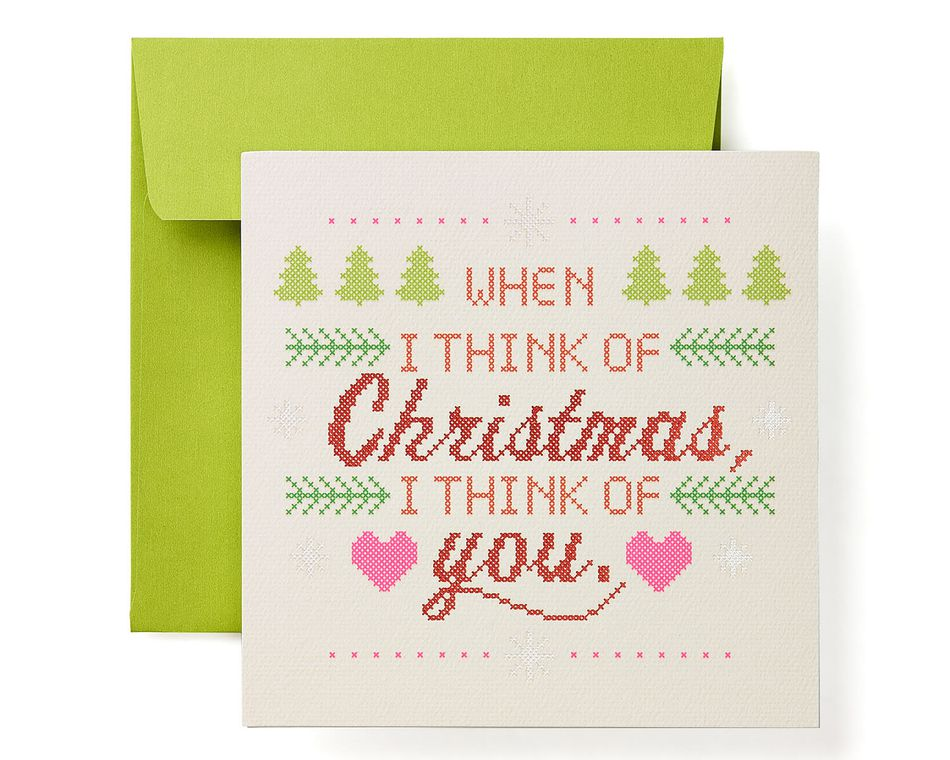 Cross-Stitch Christmas Greeting Card for Family