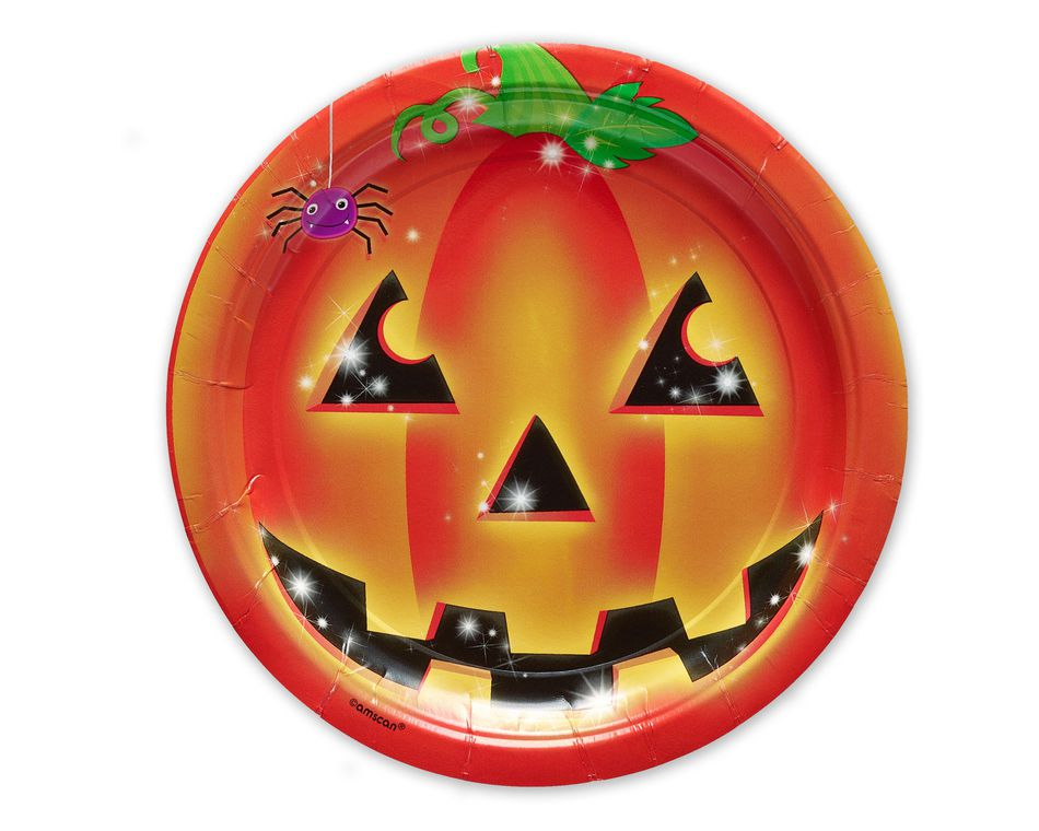Smiling Pumpkin Dinner Round Plate, 10 Count