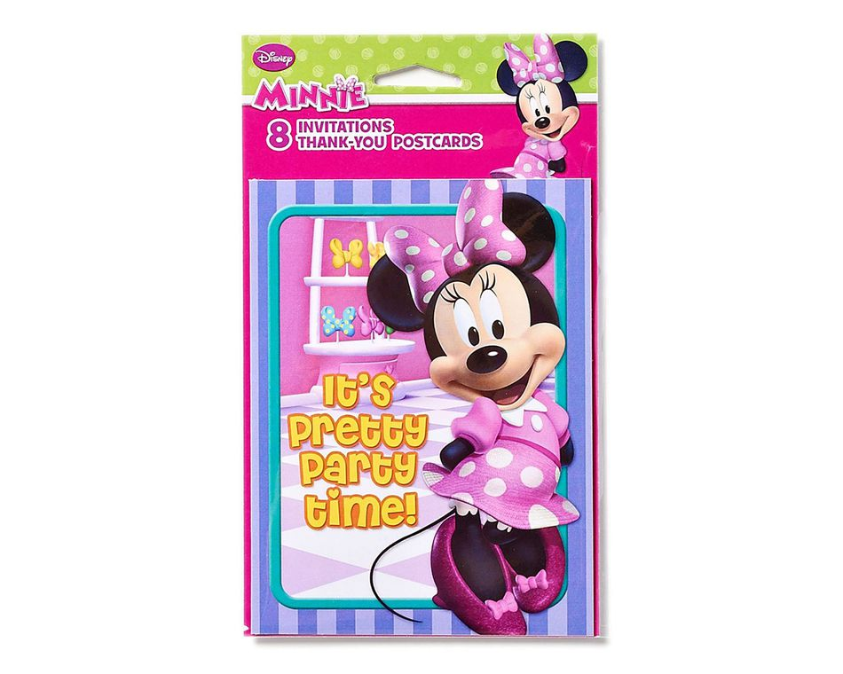minnie mouse bow tique invite and thank you combo pack 8 count