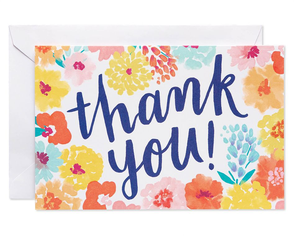 Floral Thank You Cards And White Envelopes 48 Count American Greetings