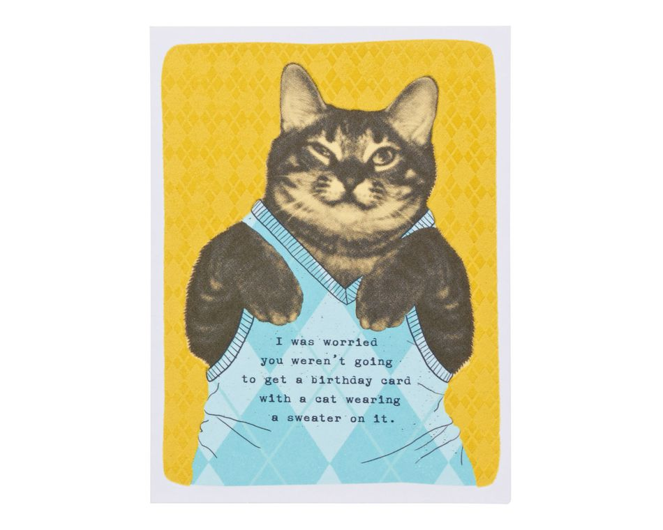 Sweater Cat Birthday Card American Greetings