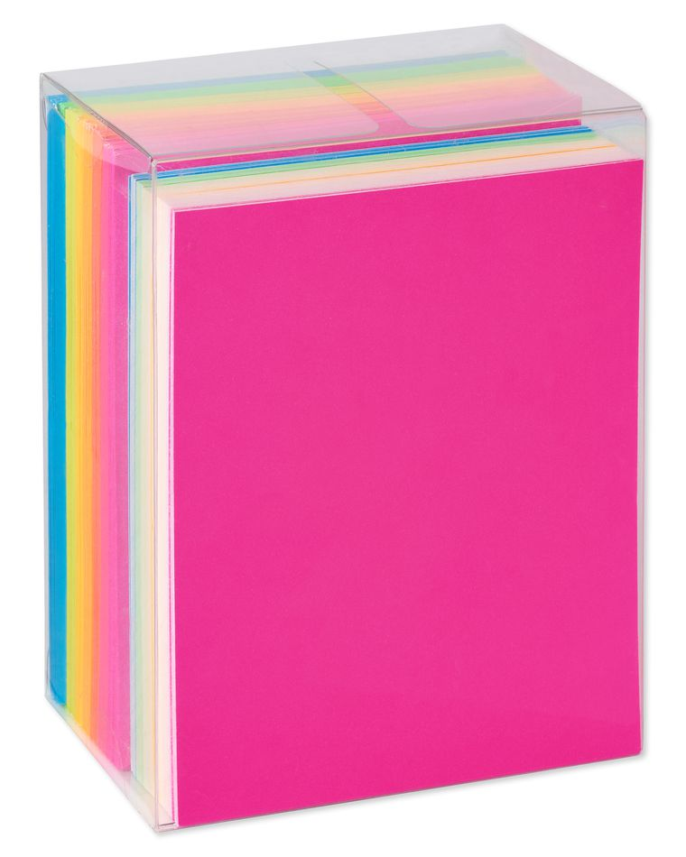 Neon Rainbow Blank Flat Panel Note Cards and Colored Envelopes, 100-Count