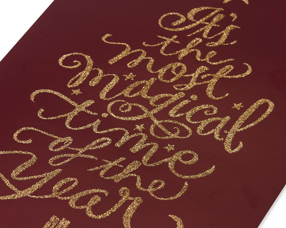 Premium Gold Lettering Tree Christmas Boxed Cards and Gold Foil-Lined White Envelopes, 14-Count