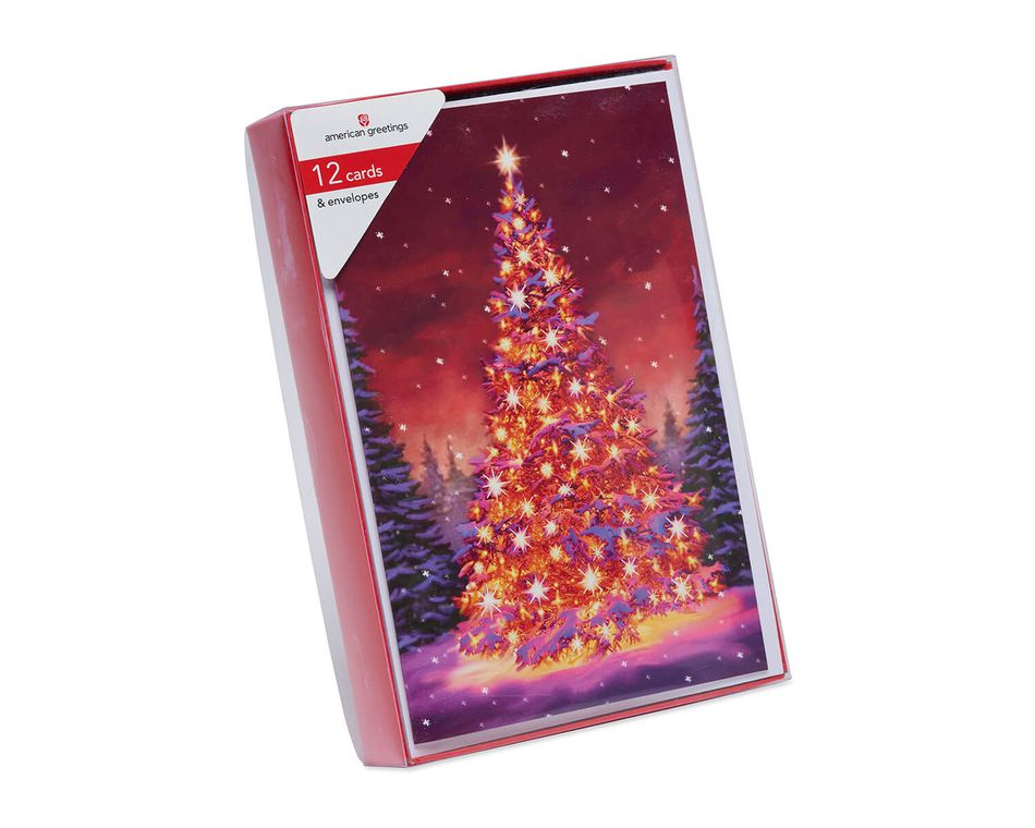 Bright Christmas Tree Boxed Cards and White Envelopes, 12-Count