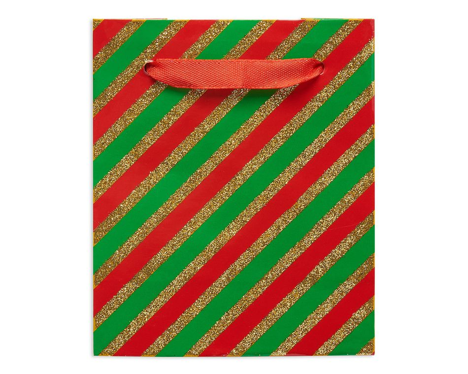mini christmas stripes gift bag