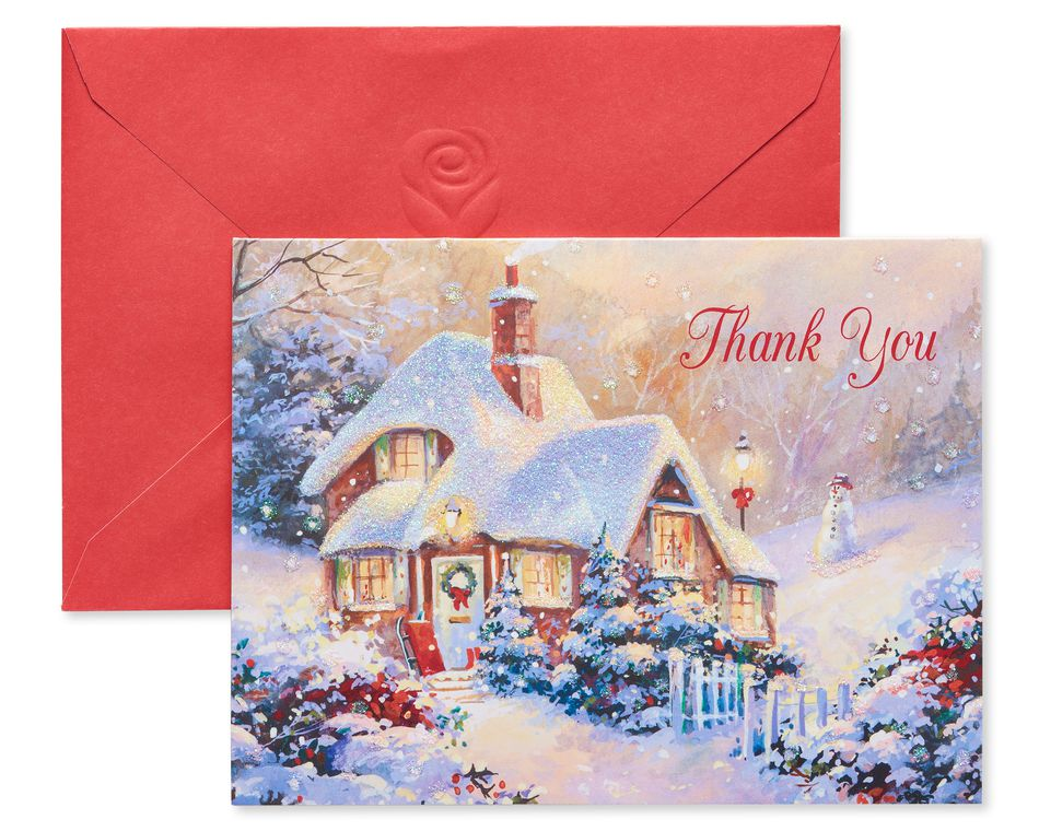 Snowy House in the Woods Christmas Thank You Note Cards, 25 Count