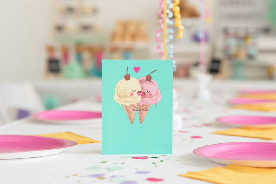 Romantic Ice Cream Cones Card