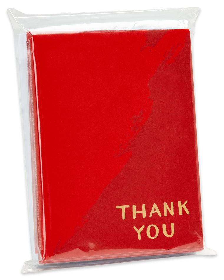 Red and Gold Thank You Blank Note Cards and White Envelopes, 20-Count